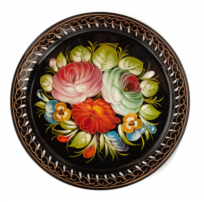 d 290 mm Zhostovo Patterns hand painted and lacquered by Anisimova Metal Forged Tray (by Lada Crafts)