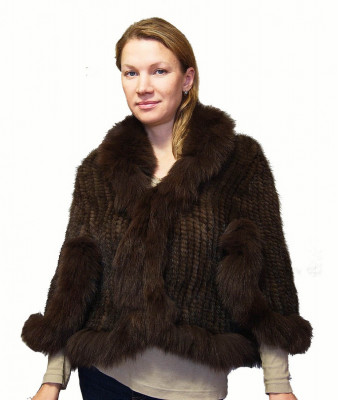 Brown Mink Fur Spiral Cape with Arctic Fox Collar