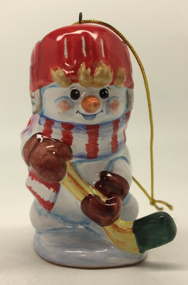 Snowman plays Hockey hand painted Ceramic Statue (by Maiolica)