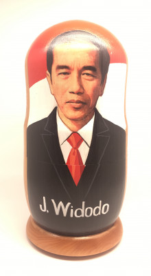 210 MM Joko Widodo hand painted Wooden Matryoshka Nesting Doll 7pcs (by Konstantin Studio)