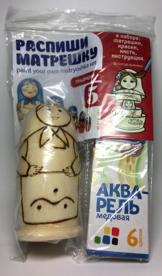 110 mm Blanc Matryoshka Traditional 1 doll 5 pcs inside with paints, brushes, instruction manual (by Sergey Carved Wooden Dolls)