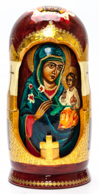 200 mm Unfading Flower Godmother hand painted wooden Matryoshka doll 5 pcs (by Ludmila Icon Paintings)