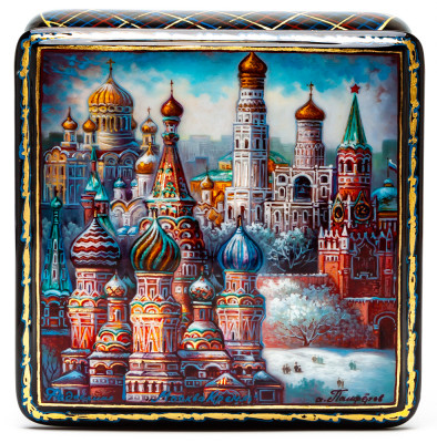 100x100mm Moscow Kremlin hand painted lacquered jewelery box (by Panferoff Studio)
