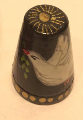Dove Hand Painted Wood Finger Thimble
