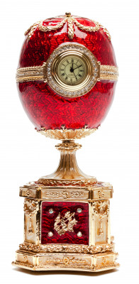 140 mm Red Chanticleer Music Easter Egg with Clock
