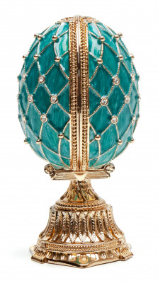 90 mm Light Blue Lattice Easter Egg with the Basket