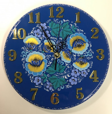 250mm Gzhel Patterns hand painted Wooden Wall Clock (by Semino Wooden Crafts)
