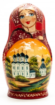 160 mm Saint Basil Cathedral hand painted on Wooden Matryoshka doll 5 pcs (by Valeria Crafts)