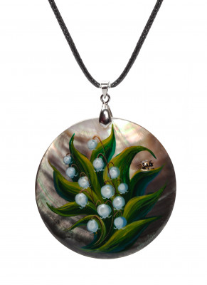 d50 mm Lily of the Valley hand painted Nacre Pendant (by Tatiana Shkatulka Crafts)