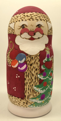 170 mm Santa Claus and Snowman Hand Carved Burnt and Painted Matryoshka Doll 5 pcs (by Igor Carved Wooden Figures Studio)