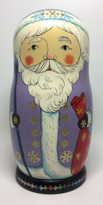 220 mm Santa Claus and Snowmaiden Princess hand painted wooden Matryoshka Doll 7 pcs (by Malutin Studio)