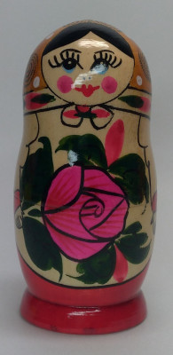 105 mm Pink Head Semenovskaya handpainted wooden Matryoshka Doll 5 pcs (by Ivan Studio)