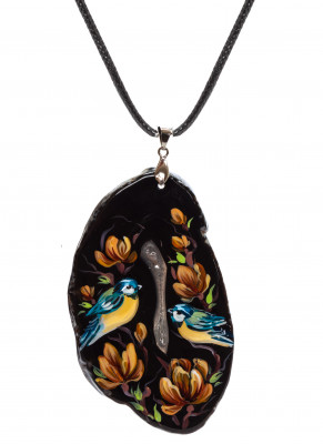 50x85 mm Parus hand painted on Stone Pendant Leather Necklace (by Skazka)
