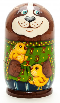 120mm Dog with Chickens hand painted Matryoshka 3pcs (by Gift Shop)