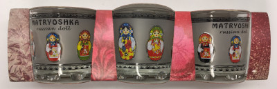 50 ml Russian Matryoshka Decal Shot Glass set of 3 pcs (by AKM Gifts)