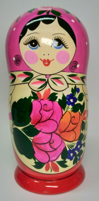205 mm Pink Head Semenovskaya handpainted wooden Matryoshka Doll 8 pcs (by Ivan Studio)