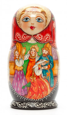 170mm The Scarlet Flower hand painted Matryoshka doll 5pcs