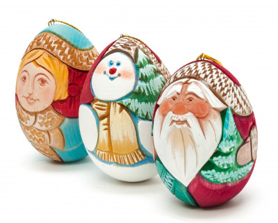 195x85 mm Santa Claus, Snowmaiden and Snowman hand Carved and Painted Christmas Tree Ornaments Set of 3 pcs in a Gift Box (by Sergey Carved Wooden Dolls Studio)