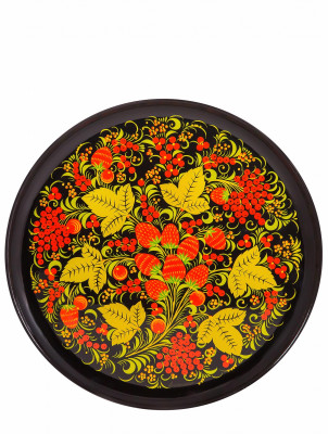 300x21 Strawberries hand Painted Wooden Wall Tray (by Golden Khokhloma)