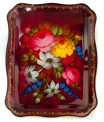 345x450 mm Zhostovo Patterns hand painted and lacquered by Dabilova Metal Forged Tray (by Lada Crafts)