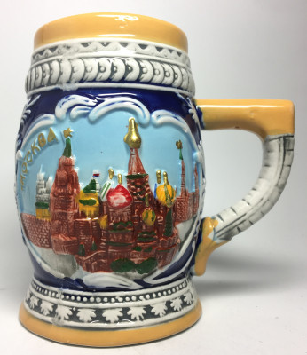 110 mm Moscow Snt Basil Cathedral and Attractions Ceramic Mug (by Volga Pottery)