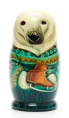 100mm Polar Bear hand painted Matryoshka 5pcs (by Vasily Crafts)