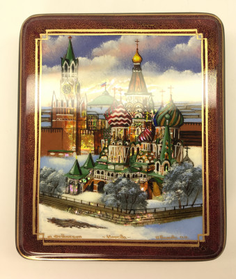 110 x 130 mm Moscow Winter hand painted lacquered box from Fedoscino (by Mihail Studio)