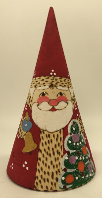 150 mm Santa Claus Hand Carved Burnt and Painted Matryoshka Doll Pyramide Shape 3 pcs (by Igor Carved Wooden Figures Studio)