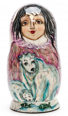 160 mm Escimo Girl with Bears hand painted on Wooden Matryoshka doll 5 pcs (by Valeria Crafts)