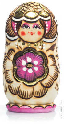 100 mm Nothern Flowers hand burnt and painted Wooden Matryoshka doll 5 pcs (by Nadia Studio)