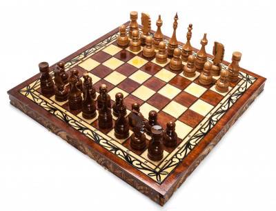 500x500 mm Hand Carved Chess Pieces on Inlaid Wood Board Box (by Fyodor Chess Workshop)