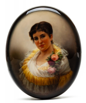 125x100mm Maiden Portrait Hand Painted Jewellery Box (by Alexander G Studio)