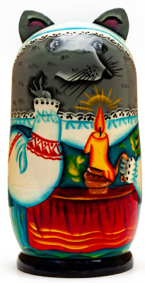 120mm Mouse hand painted Matryoshka 3pcs (by Gift Shop)