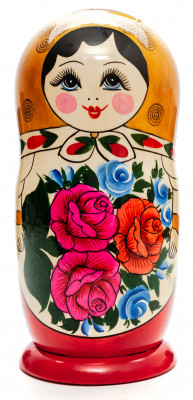 230 mm Golden Head Semenovskaya handpainted wooden Matryoshka Doll 9 pcs (by Ivan Studio)