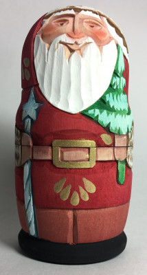 110 mm Santa Claus carrying Green Tree Hand Carved and Painted Matryoshka shape 3 pcs inside (by Sergey Carved Wooden Dolls Studio)