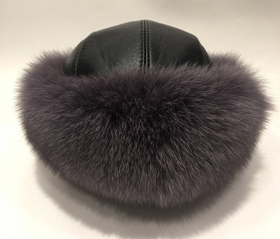 Grey Polar Fox Fur Round Hat with Leather Top