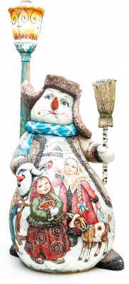 480 mm Snowman with a Broom and Children on wooden Figurine (by Natalia Nikitina Workshop)