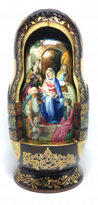 290 mm Bible stories hand painted and carved wooden Matryoshka doll 10 pcs (by Trifonov Studio)