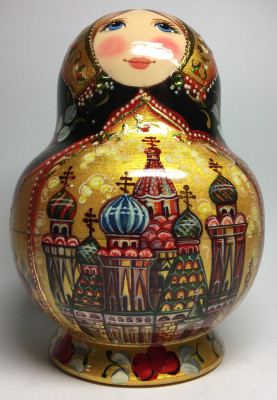150 mm Moscow Cathedrals hand painted wooden Matryoshka doll 10 pcs (by A Studio)