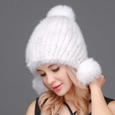 White Knitted Mink Fur Hat with 3 pompons