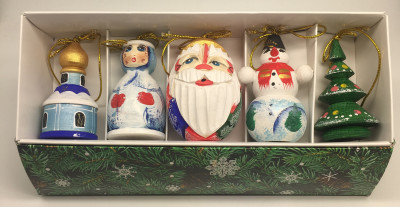 Santa and Snowmaiden Princess Carving Christmas Ornaments Set of 5 pcs (by Ilya Painted Dolls Studio)