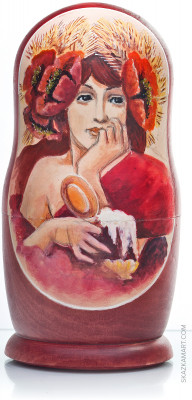 200 mm Alphonse Mucha Paintings hand painted wooden Russian Matryoshka doll 5 pcs (by Alexander Famous Painting Studio)