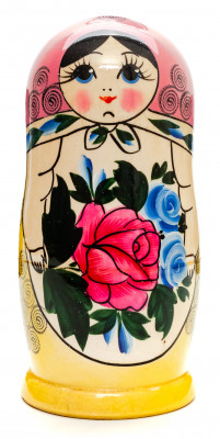 170 mm Pink Head Semenovskaya handpainted wooden Matryoshka Doll 7 pcs (by Ivan Studio)
