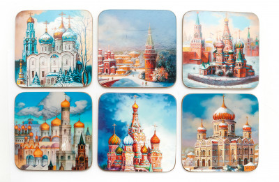 Coasters with Russian Temples