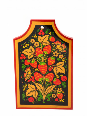 225x150x17 mm Khokhloma hand painted wooden Cutting Board (by Golden Khokhloma)