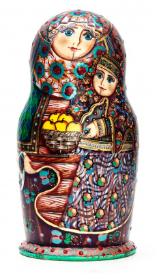 3 pcs Russian Family Matryoshka Dolls Traditional painted by M Bogachev
