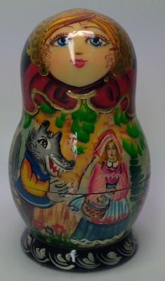 110mm The Red Hood hand painted Matryoshka doll 5pcs