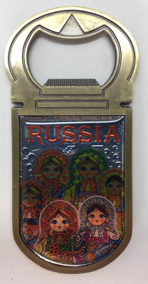 40x90 mm Russian Matryoshka Bottle Opener Fridge Magnet (by AKM Gifts)