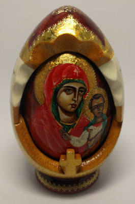 160 mm Kazanskay Godmother Icon hand painted and carved wooden Matryoshka doll 5 pcs ( by Ludmila Icon Paintings )