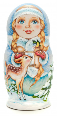 180 mm Snowmaiden plays with Animals hand painted wooden Russian Matryoshka doll 5 pcs (by Alexander Studio)